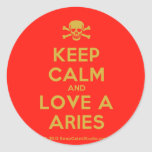 [Skull crossed bones] keep calm and love a aries  Stickers