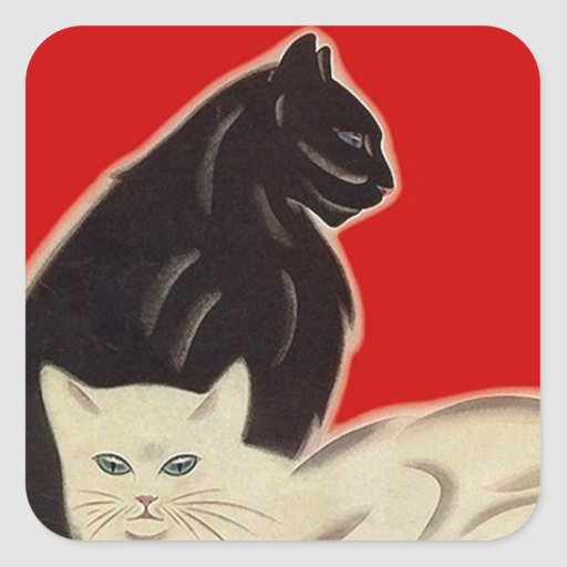 STICKERS Art Deco Style Black White Cats on Red