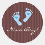 Stickers: Baby boy blue footprints - It's a Boy!