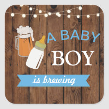 Stickers Beer Boy Baby Shower Brewing Blue