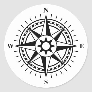 Stickers: Black and white compass rose Classic Round Sticker