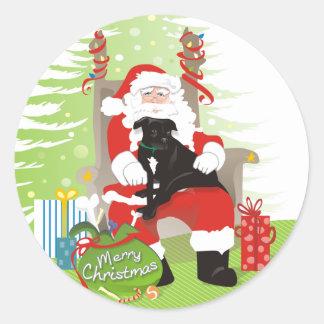 Stickers - Black Pitbull on Santa's Lap Christmas