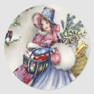 Stickers - Christmas shopping lady vintage robin