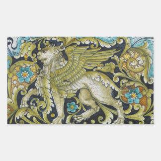 Stickers--Deruta Tile Lion Rectangular Sticker