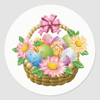 Stickers-Easter Basket Classic Round Sticker