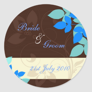 Stickers - Floral Flurry - Brown and Blue