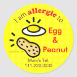 Stickers for Egg and Peanut Allergy / Customize
