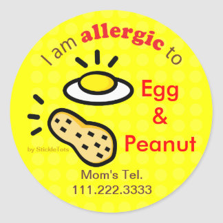 Stickers for Egg and Peanut Allergy Customize