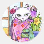 Stickers Geisha Asian Cat Fantasy by Ann Howard