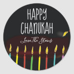 "Stickers ""Happy Chanukah"" Menorah Candles<br><div class=""desc"">Hanukkah/Holiday stickers, personalize. Happy Chanukah Menorah Candles. Choose from 1 1/2"" and 3"" stickers. Personalize by deleting and replacing text with your own message. Choose your favorite font size, style, and color. Thanks for stopping and shopping by! Your business is very much appreciated! Happy Hanukkah! Shape: Classic Round Sticker Make...</div>"