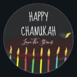 """Stickers &quot;Happy Chanukah&quot; Menorah Candles<br><div class=""""desc"""">Hanukkah/Holiday stickers, personalize. Happy Chanukah Menorah Candles. Choose from 1 1/2&quot; and 3&quot; stickers. Personalize by deleting and replacing text with your own message. Choose your favorite font size, style, and color. Thanks for stopping and shopping by! Your business is very much appreciated! Happy Hanukkah! Shape: Classic Round Sticker Make...</div>"""