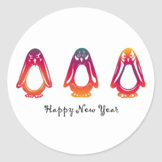 Stickers Happy New Year Penguins
