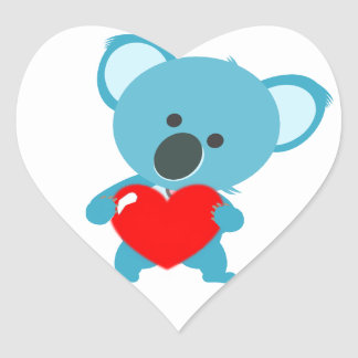 Stickers Heart blue koala and its red heartwood of