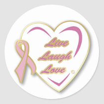 Stickers  Live Laugh Love Heart & pink ribbon