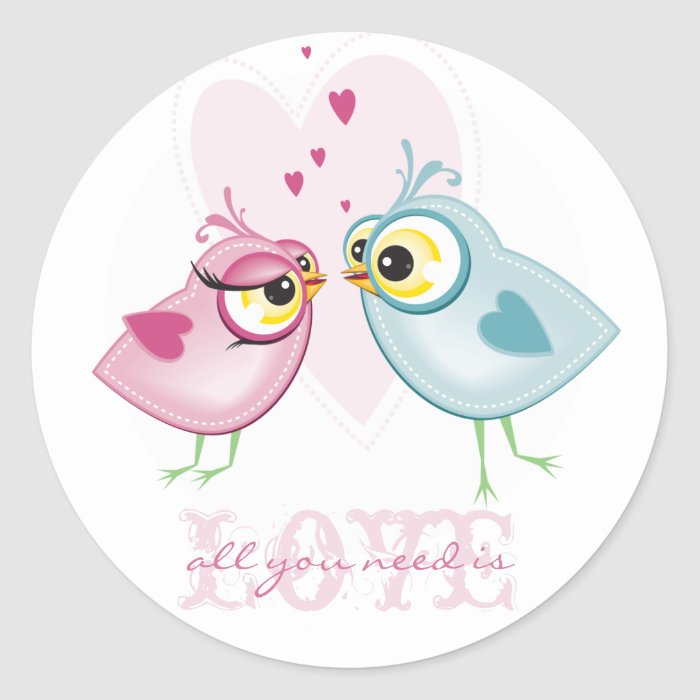 STICKERS :: love birds - all you need is LOVE...