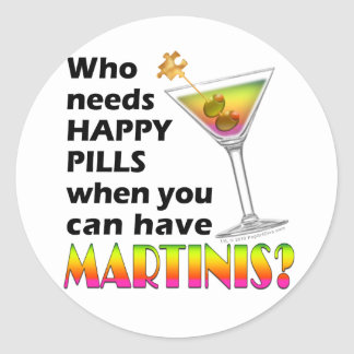 Stickers - Martinis v. Happy Pills