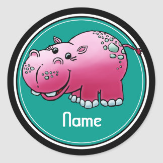 Stickers, Name Template, Cute Hippo Cartoon Classic Round Sticker