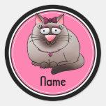 Stickers, Name Template, Cute Kitty Cat Cartoon Classic Round Sticker
