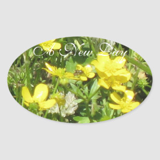 """Stickers Oval Clover Floral Bees """"A New Day"""""""