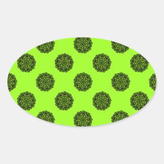 Stickers ovale fleurs dentelle verte remastered autocollant