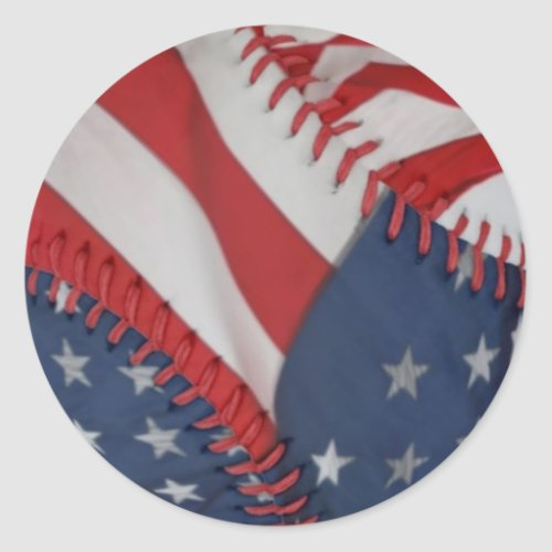 StickersPatriotic Baseball Classic Round Sticker
