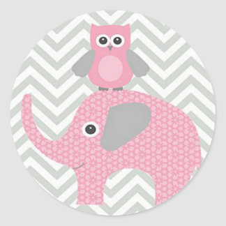 Stickers/Pink Owl and Elephant Classic Round Sticker