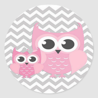 Stickers/Pink Owls with Gray Zig Zags Classic Round Sticker