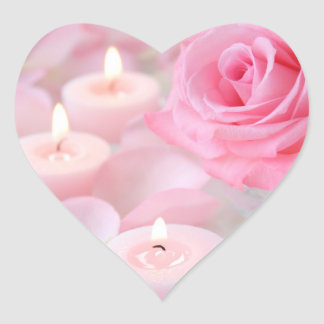 Stickers--Pink Rose & Candles Heart Sticker