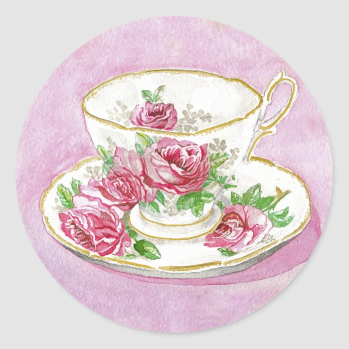 Stickers - Pink Rose Floral Teacup & Saucer
