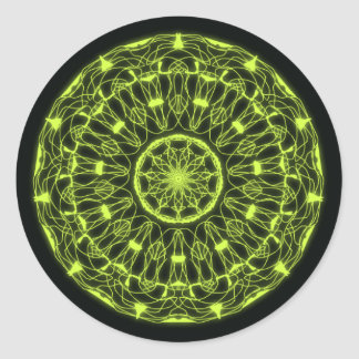 Stickers psicodélico negro y verde pegatina redonda