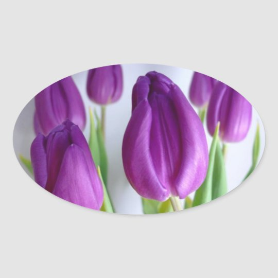 Stickers - Purple Easter Tulips Oval