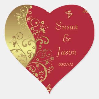 Stickers--Red & Gold Swirls Heart Sticker