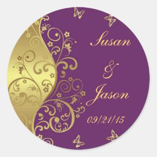 Stickers--Red Violet & Gold Swirls Classic Round Sticker
