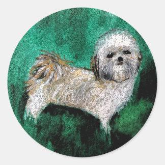 Stickers Round Dogs Shitzu