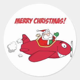 Stickers--Santa in Plane Classic Round Sticker