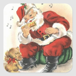 Stickers: Santa Playing the Harmonica for a Puppy Square Sticker