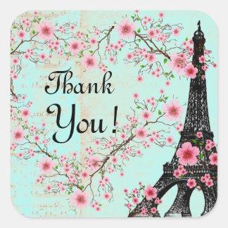 Stickers, Sheet Labels Paris Eiffel Tower Square Sticker