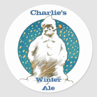 STICKERS SNOWMAN Homebrew Labeling Sticker weiss