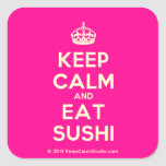 [Crown] keep calm and eat sushi  Stickers (square)
