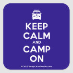[Campervan] keep calm and camp on  Stickers (square)