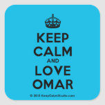 [Crown] keep calm and love omar  Stickers (square)