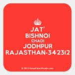 [Crown] jat' bishnoi chadi jodhpur rajasthan-342312  Stickers (square)