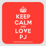 [Crown] keep calm and love pj  Stickers (square)