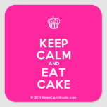 [Cupcake] keep calm and eat cake  Stickers (square)