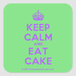 [Crown] keep calm and eat cake  Stickers (square)