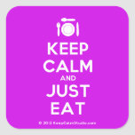 [Cutlery and plate] keep calm and just eat  Stickers (square)