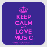 [Dancing crown] keep calm and love music  Stickers (square)