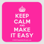 [Crown] keep calm and make it easy  Stickers (square)