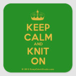 [Knitting crown] keep calm and knit on  Stickers (square)