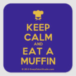 [Chef hat] keep calm and eat a muffin  Stickers (square)